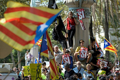 Cat.1057531 manifestation pour l independance de la catalogne a barcelone le 21 septembre 2017
